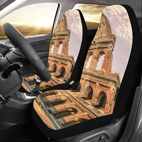 JOCHUAN Copriauto Impermeabile Famoso Colosseo a Roma Italia Universal Fit Auto Coprisedili per Auto Protezione per Camion Auto SUV Veicolo Donna Lady (2 Anteriore) Coprisedile conducent