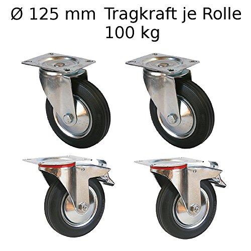 4 Stück Lenkrollen Transportrollen Möbelrollen 125mm Transportrolle Rollen mit Bremse Laufrollen Schwerlastrollen 100 kg