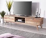 DELIFE Fernsehtisch Dover Sheesham Natur 170 cm 2 Schübe 1 Fach Massivholz Lowboard