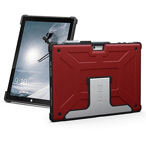 URBAN ARMOR GEAR Folio Schutzhülle für Microsoft Surface Pro 4 - rot [Microsoft zertifiziert | TypeCover kompatibel | Surface Pen Halterung | Stoßfest | Standfunktion] - UAG-SFPRO4-RED-VP