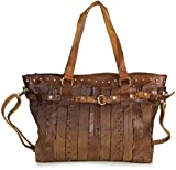 Taschenloft Handtaschen - Damen Handtasche Shopper braun groß - Cognac braune Tasche Schultertasche Vintage Kunstleder