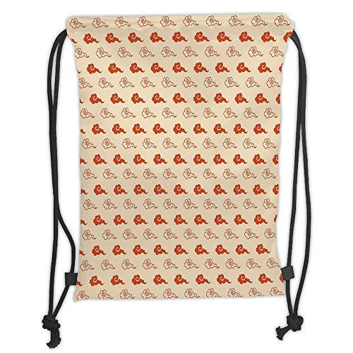 OQUYCZ Drawstring Sack Backpacks Bags,Geometric,Oriental Swirled Cloud Pattern Abstract Weather Inspired Design Vintage Decorative,Vermilion Cream Soft Satin,5 Liter Capacity,Adjustable String
