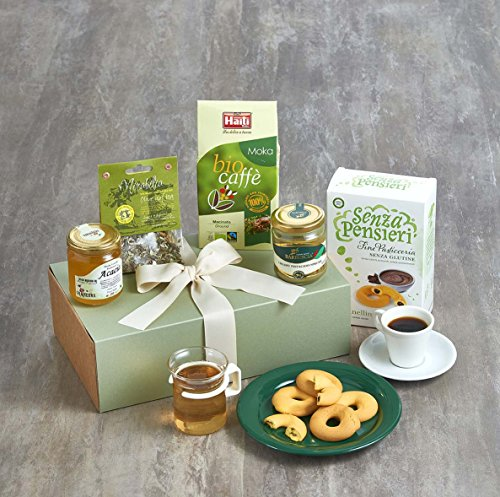 Italian Breakfast Gift Box,Organic Chocolate Filled Biscuits (150g), Sweet Sicilian Hazelnut Spread (212g),Organic Acacia Honey (250g), Organic Arabica Fairtrade Coffee (250g) ,Organic Olive Leaf Tea (30g).