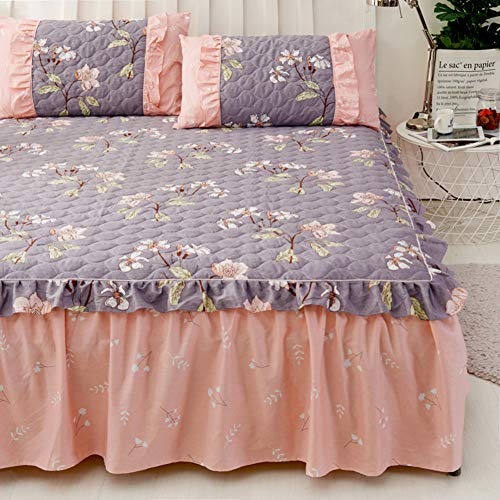 Cache-poussière,Matelassé Couvre-lit,Jupe de lit de Coton,Pièce Simple Simmons Housse de Protection,ébouriffé Couverture de lit Anti-dérapant-G 180x200x45cm(71x79x18inch)