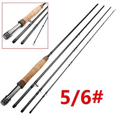 Fliegenrute 5/6 7 / 8FT 4 Abschnitte Fliegenfischen Rod Medium Fast Action Angeln Pole, Schwarz