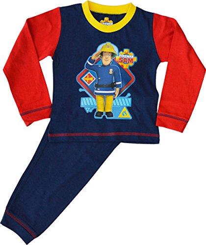 Image of Boys - Fireman Sam Pyjamas 100% Cotton Long Sleeve PJ Pyjama Set[2-3 Years][Blue]