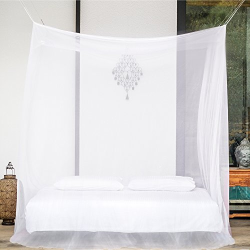 EVEN Naturals MOSQUITO NET bed, Tent for Double up to Super King Size, LARGE Square Bed Canopy Curtains, White Mosquito Netting with 2 Openings, Easy Installation & Carry Bag