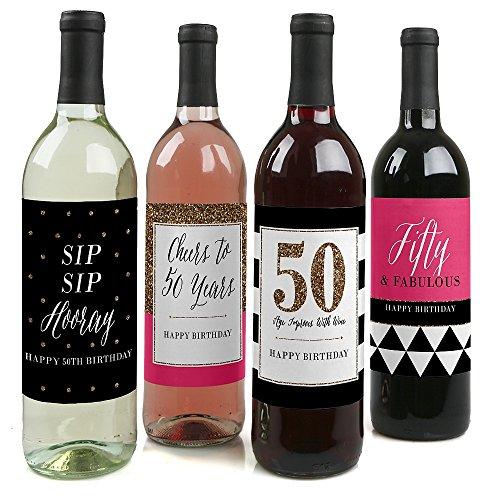 Chic 50. Geburtstag–rosa, schwarz und gold–Wein Flasche Etiketten Geburtstag Geschenk–Set von 4