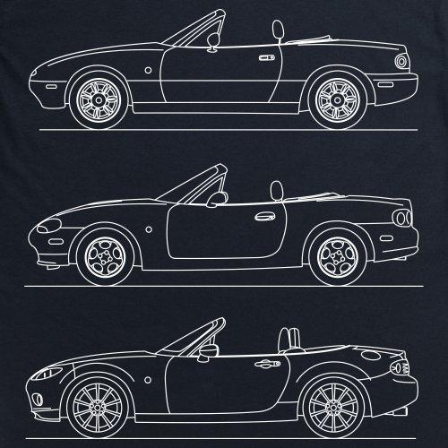 MX-5 Generations T-Shirt, Herren Schwarz