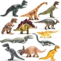 Prextex Realistic Looking 10-inch/ 25cm Dinosaurs Pack of 12 Large Plastic Assorted Dinosaur Figures