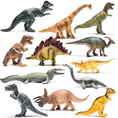 Prextex 12er-Packung realistisch aussehende 25cm große Dinosaurier aus Kunststoff in verschiedenen Farben
