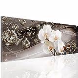 Bilder 110 x 40 cm - Orchidee Bild - Vlies Leinwand - Kunstdrucke -Wandbild - XXL Format – mehrere Farben und Größen im Shop - Fertig Aufgespannt !!! 100% MADE IN GERMANY !!! - Blume – Abstrakt – Glitzer 200911a