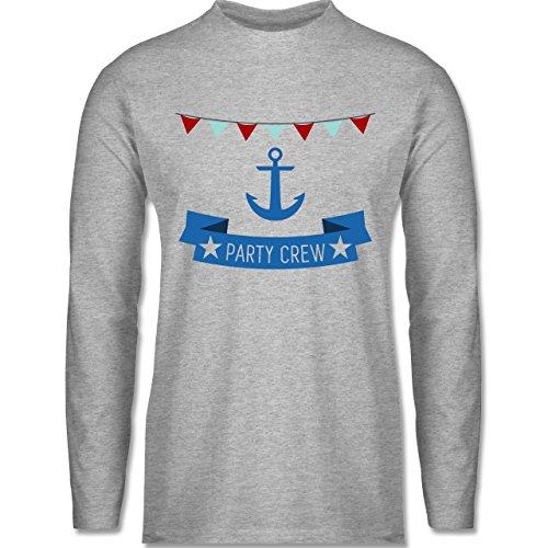 JGA Junggesellenabschied - Party Crew Anker - Longsleeve / langärmeliges T-Shirt für Herren Grau Meliert