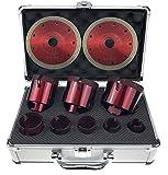Set Fliesenbohrer 20-68 mm Feinsteinzeug Granit Bohrkrone Set 4 im Koffer + 2 Diascheiben 125 mm Feinsteinzeug