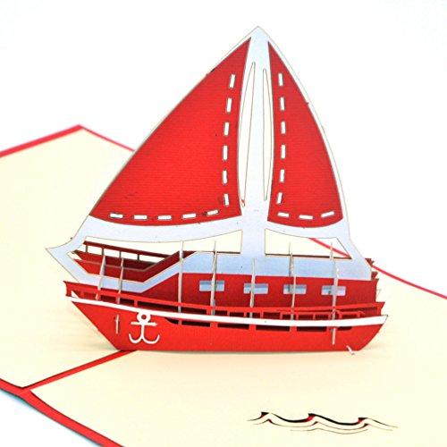 3D Pop-up-Grußkarten von Medigy, unbeschriebene Karten für die meisten Anlässe (Segelboot) rot