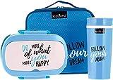 Bento Box Rosmarino I Lunchbox mit 2 Fächern I Brotdose Kinder mit Trinkflasche I Premium Vesperdose Kinder mit trennwand, Mittagessen Thermobox, BPA-frei (Blau)