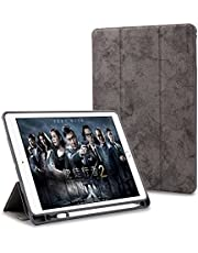 """ProElite Smart PU Flip Case Cover for Apple iPad 9.7"""" 2017 2018 5th Gen/6th Gen (A1893/A1954) (Grey) with Pencil Holder"""