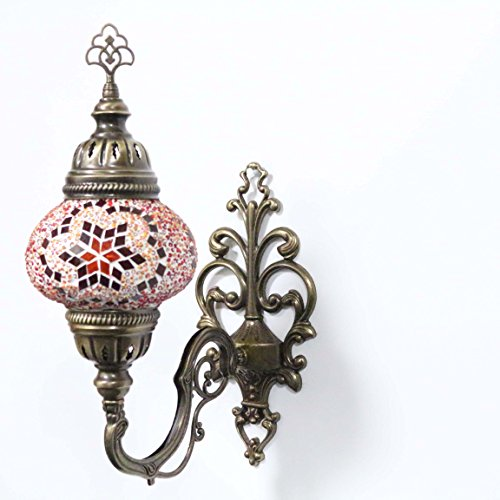 Turkish Mosaic Sconce Wall Lamp, Stunning Moroccan Style Handmade with Large Size (14cm) Glass Globe by TK Bazaar (LILA)