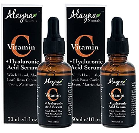 Alayna Naturals Enhanced Vitamin C Serum with Hyaluronic Acid 1 Oz - Top Anti Wrinkle, Anti Aging & Repairs Dark Circles, Fades Sun Damage- 20% Vitamin C Super Strength - Organic ingredients (2 Pack) by (Enhanced Natural)