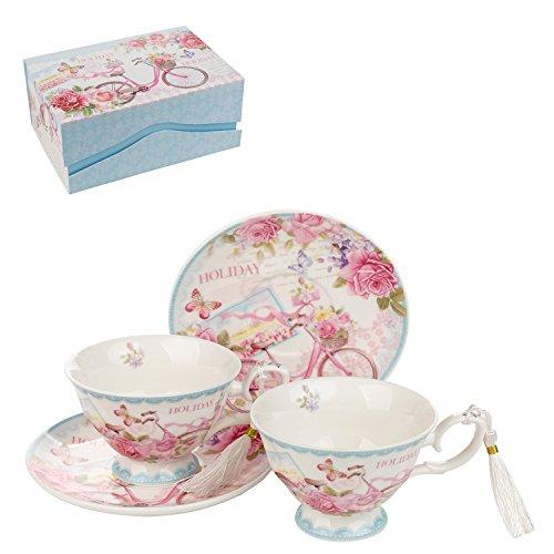 London Boutique Coffret Cadeau 2 Tasses à café et Soucoupe Vintage en Porcelaine Rose