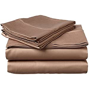 jb linen 600 thread count egyptian cotton 4 piece sheet set twin xxl 39 x 84 taupe solid fit. Black Bedroom Furniture Sets. Home Design Ideas