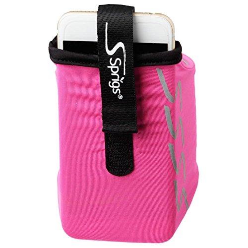 Sprigs Banjee Oberarm Handy Tasche Armband Joggen Sport Fitness Wandern Laufen Smartphone, 552, Farbe Pink Silber, Größe S