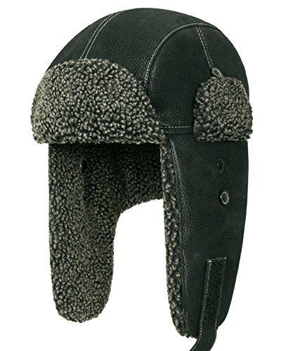 Howels künstliches Leder klassischer Stil Flugpilot Uschanka Trooper Bomber Hut mit künstliches Pelz (Medium, Black) (Schwarz Flug Stil Air Force)