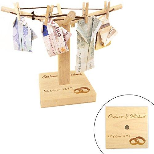 MAGISCHE GESCHENKBOX Geld und Foto Wäschespinne mit Gravur zur Hochzeit – Motiv [Eheringe] – Personalisiert mit [NAMEN] und [DATUM] – Geschenkidee zur Hochzeit – Verpackung für Geldgeschenke