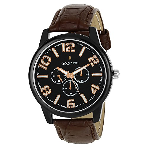 Golden Bell Original chronograph Look Black Dial Wrist Watch with Black Strap for Men  available at amazon for Rs.150