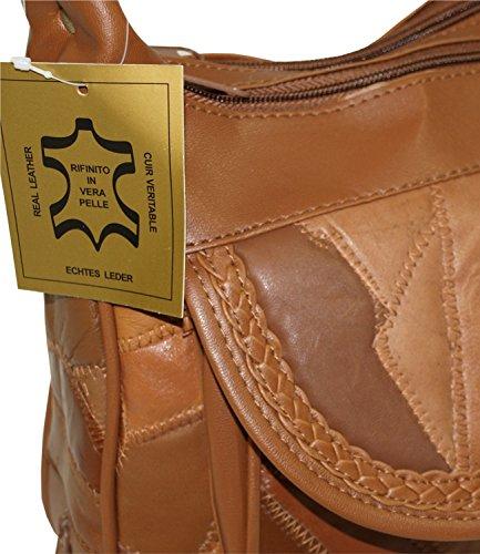 Damenhandtasche Shopper Bag Tasche Patchwork Neu 2098 (Mocca) Braun