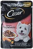 Cesar Hundefutter Feines im Frischebeutel/Hochwertiges Nassfutter für Eine 100% ausgewogene Mahlzeit/Rind und Karotten in Sauce / 24 Portionsbeutel, (24 x 100 g)