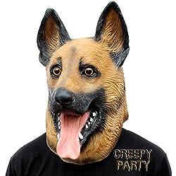 CreepyParty Máscara de Cabeza Animal de Látex de Fiesta de TrajeLujo de Halloween de Novedad Perros