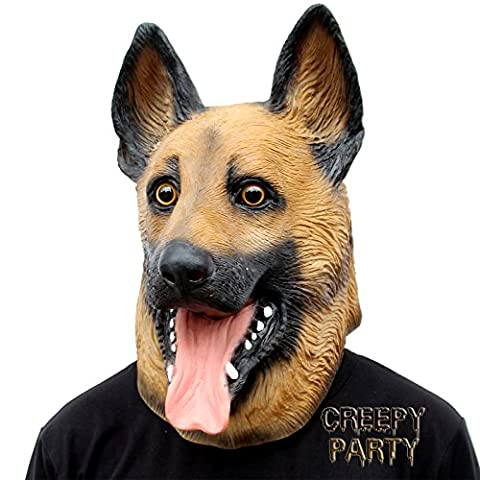 CreepyParty Deluxe Novelty Halloween Costume Party Latex Animal Dog Head Mask (German Shepherd)