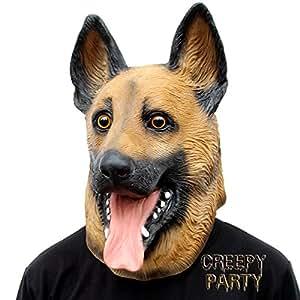 CreepyParty Deluxe Novità Halloween Costume Festa Latex Animale Testa Maschera Cane