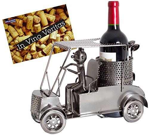 BRUBAKER Porte-bouteille de Vin décoratif - Sculpture en Métal - Idée cadeau - Golfeur en voiturette de golf