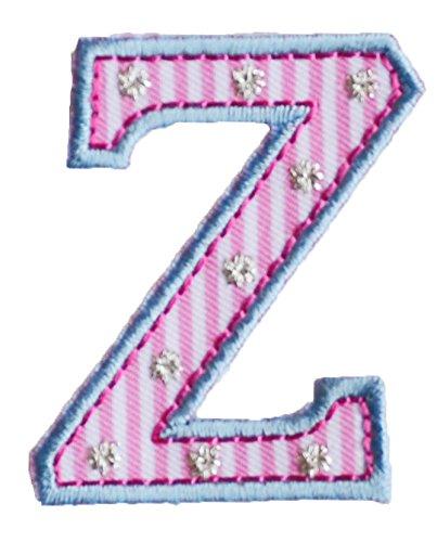 Z 5cm hoch rosa blau Buchstabe Stoff Dekoration Aufnäher Bügelbild zum Aufbügeln auf Kindergarten...