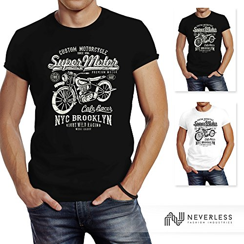 Herren T-Shirt Biker Shirt Motorrad Super Motor Retro Vintage Slim Fit Neverless® Anthrazit