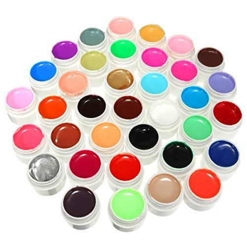 DANCINGNAIL 36 Colores 36 Ollas Solid Mix Pura Pulido UV Gel Uñas Arte Manicura Constructor Herramienta Decoración Set