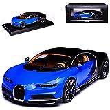 Kyosho Bugatti Chiron Coupe Blau mit Schwarz Ab 2016 1/18 Modell Auto