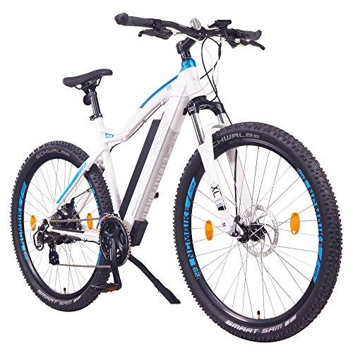 "NCM Moscow 48V 27,5"" Bicicleta eléctrica de montaña 250W Motor Trasero Das-Kit, batería extraíble 48V 13Ah Li-Ion, Frenos de Disco Tektro, Cambio Shimano, Cubiertas 2.25'' Schwalbe (Blanco 27,5"")"
