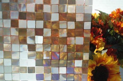 REUSABLE, Static Decorative Frosted Window Vinyl Cling Film, (1m x 90cm) 3D Translucent Mosaic Design