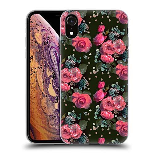 Head Case Designs Offizielle Laura Thompson Pink Rosen Botanisch Mitternacht Soft Gel Hülle für iPhone XR - Botanische Rosen