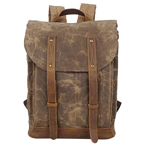 VICROAD 15.6' Mochila Portátil Lona Cuero Backpack Resistente Al Agua Rucksack Vintage Casual Bolsa...
