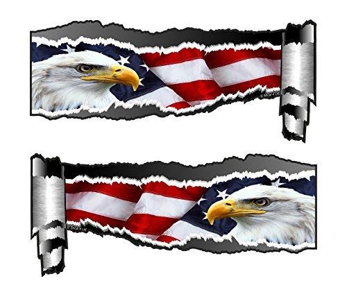 Flagge-aufkleber Amerikanische Für Große Auto (groß Ein Paar Von Gerollt Rücken gerissen OFFEN ZERRISSEN metall effekt Design Mit Amerikanisch Weißkopfseeadler & US Flagge Vinyl Auto Aufkleber 300x130mm each)