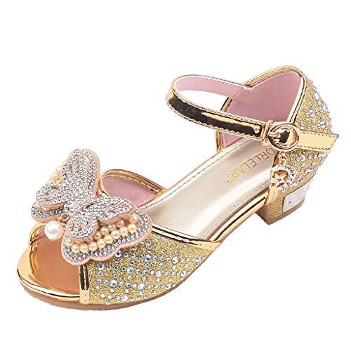 Sandalen Mädchen,SANFASHION Kleinkind Kinder Bling Pailletten Einzelne Prinzessin Schuhe Perle Butterfly-Knot Crystal Single Party Tango Salsa Dance Tanzschuhe