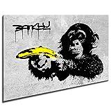 Photo leinwand24image sur toile Banksy Monkey Banana/mural XXL Photos et Wallfillers Canvas images de toile montée sur cadre en bois-Dimensions au choix. pas poster ou Affiche/Moins cher que Peinture à/Images de toile, châssis 561N de photos, Bild - S/W 100x70cm