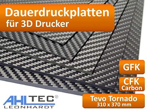 Placa de impresión 3D para Tevo Tornado, 310 x 370 x 1,0 mm, filamento ABS  PLA PETG HIPS, GFK Black, 1
