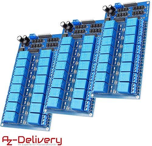 AZDelivery 3 x 16-Relais Modul 12V mit Optokoppler Low-Level-Trigger für Arduino