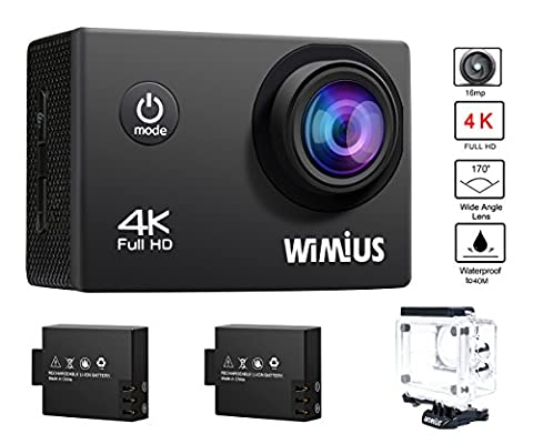 WiMiUS Actioncam 4k Action Cam HD Action Kamera Wifi Actionkamera 16MP Sport Kamera mit 2 Akkus 2.0 Zoll Wasserdichte Helmkamera 40M