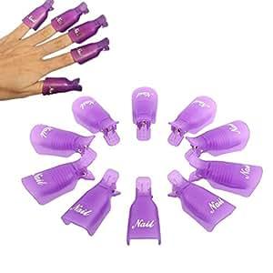 Culater® 10PC Plastique Ongle Art Tremper le Capuchon Pince à Ongles Gel UV Pellicule Outil pourpre